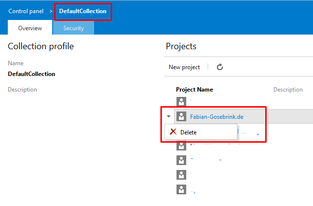 Deleting a Team Project on Visual Studio Team Services