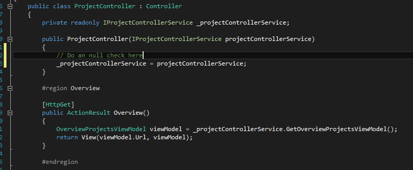 Structurize your project with areas and services in ASP.NET MVC
