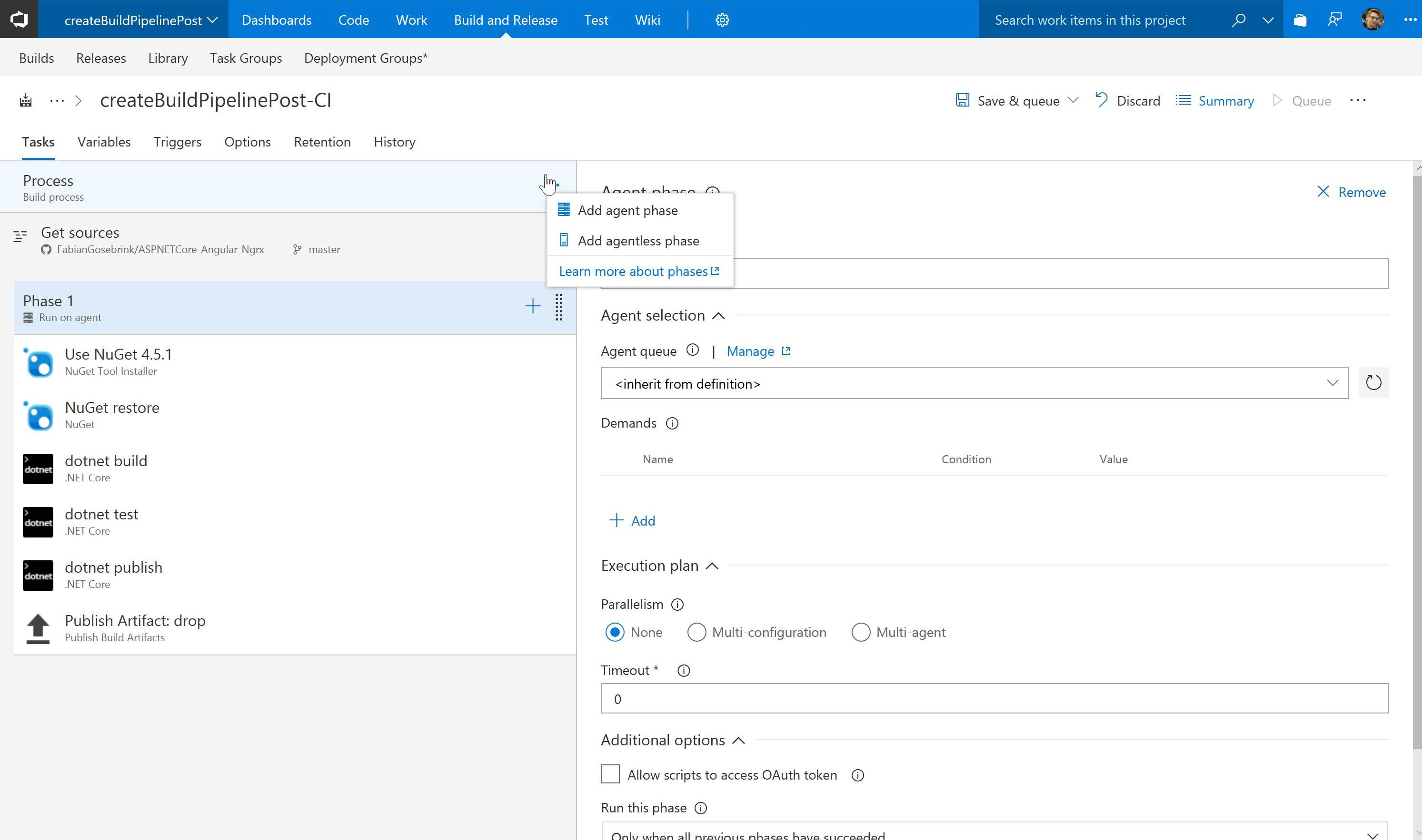Create a build pipeline for Angular and ASP NET Core apps with