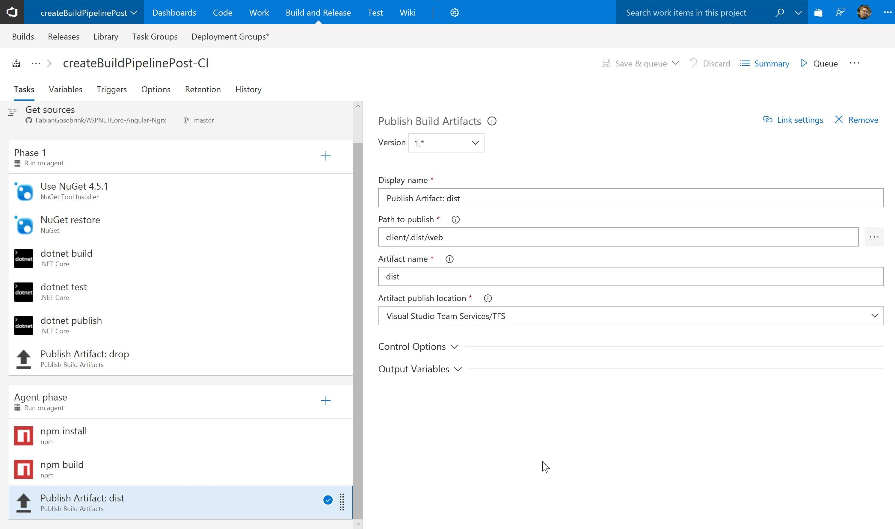 Create a build pipeline for Angular and ASP NET Core apps