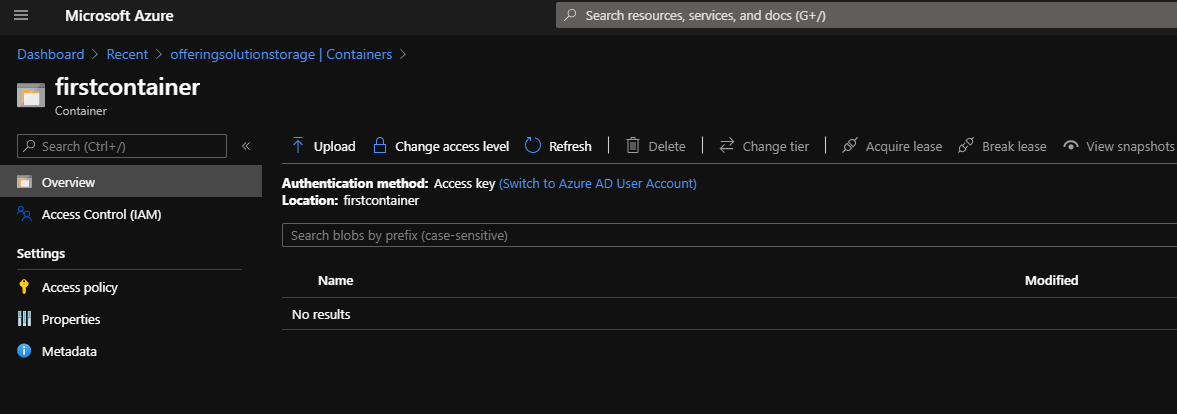 Azure Storage Account Resource Inside Container
