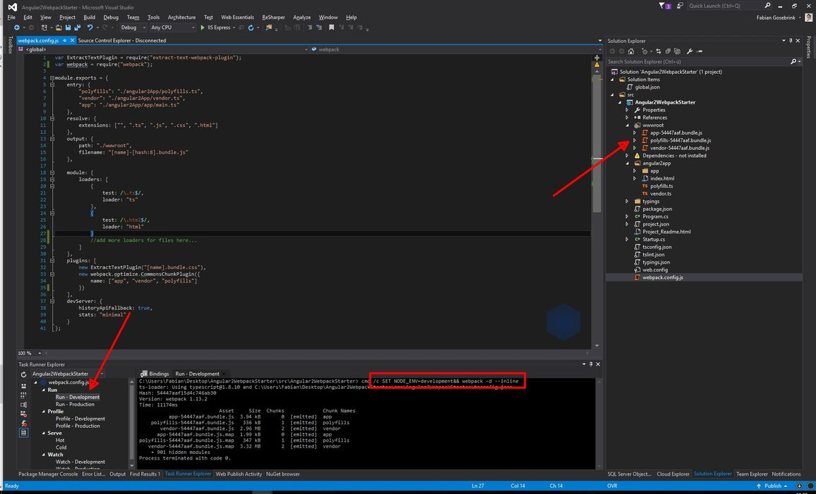 How to set up Angular and Webpack in Visual Studio with ASP NET Core