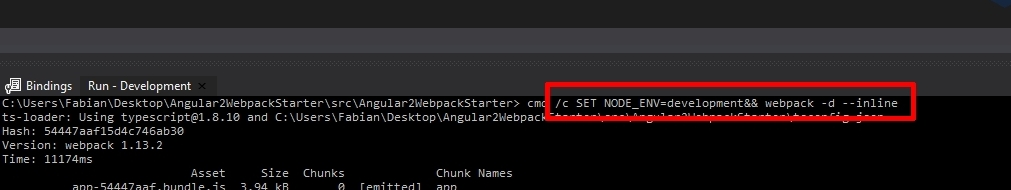 How to set up Angular and Webpack in Visual Studio with ASP.NET Core